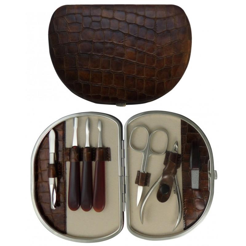 7 teiliges Maniküre Etui aus echtem Leder, Braun Croco - Tenartis Made in Italy