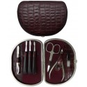 7-Piece Burgundy Croco Genuine Leather Manicure Set - Tenartis Made in Italy