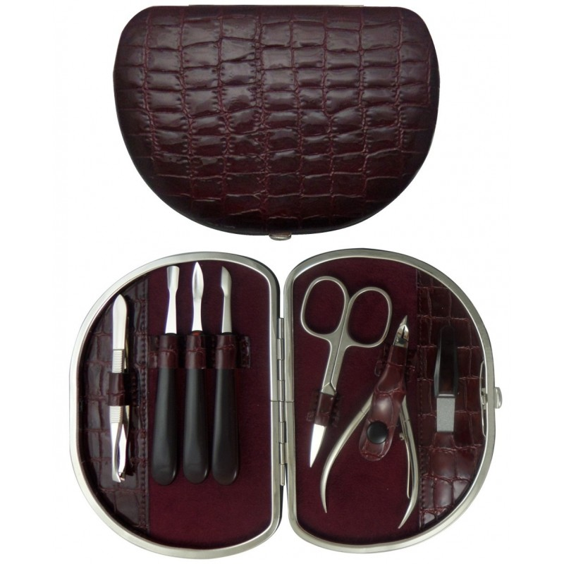 7-Piece Burgundy Croco Genuine Leather Manicure Set - Tenartis Made in Italy