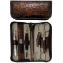 Set Manucure 5 pièces en Cuir Maron Croco avec Fermeture à Glissière - Tenartis Fabriqué en Italie