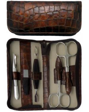 5 teiliges Maniküre Etui aus echtem Leder mit Reißverschluss, Braun Croco - Tenartis Made in Italy