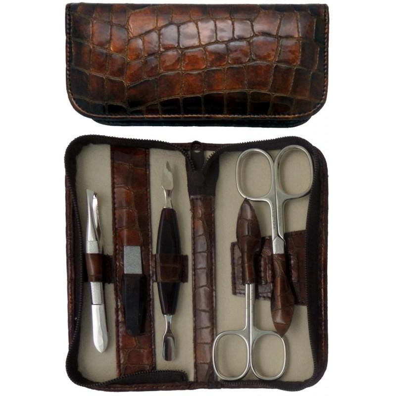Set Manicure 5 Pezzi in Vera Pelle Marrone Croco con Cerniera - Tenartis Made in Italy