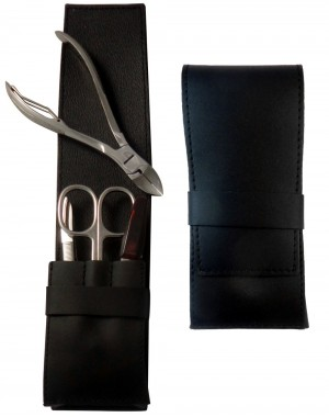 4-Piece Black Nappa Genuine Leather Men's Manicure and Pedicure Set - Tenartis Made in Italy