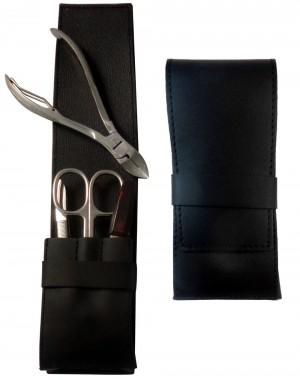 4 teiliges Maniküre und Pediküre Etui für Männer aus echtem Leder, Schwarz Nappa - Tenartis Made in Italy