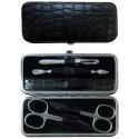 5-Piece Grey Croco Genuine Leather Manicure Set - Tenartis Made in Italy