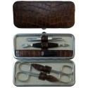 5-Piece Brown Croco Genuine Leather Manicure Set - Tenartis Made in Italy