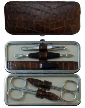 5 teiliges Maniküre Etui aus echtem Leder, Braun Croco - Tenartis Made in Italy
