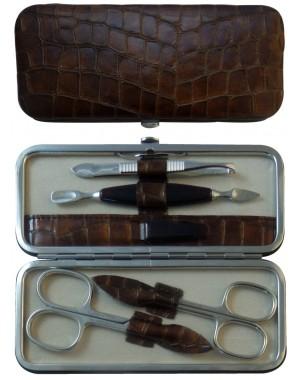 Set Manucure 5 pièces en Cuir Maron Croco - Tenartis Fabriqué en Italie