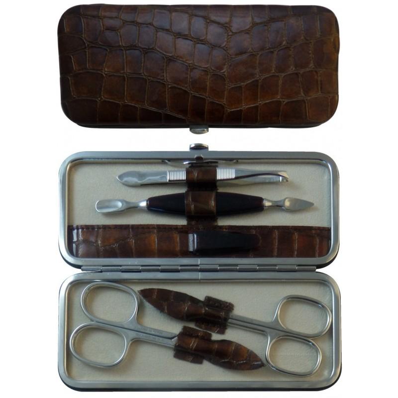 5 teiliges Maniküre Etui aus echtem Leder, Glänzendes Braun Croco - Tenartis Made in Italy