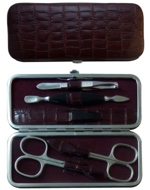 Set Manicure 5 Pezzi in Vera Pelle Bordeaux Croco - Tenartis Made in Italy
