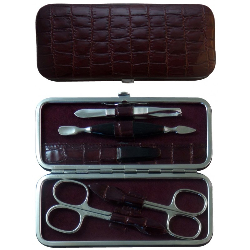 5-Piece Burgundy Croco Genuine Leather Manicure Set - Tenartis Made in Italy